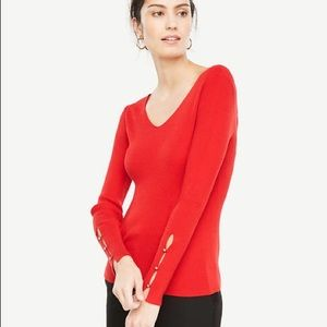 Ann Taylor Red V Neck Ribbed Sweater S
